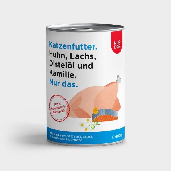 Nur das Huhn mit Lachs, Distelöl und Kamille Katzennassfutter 400g Dose