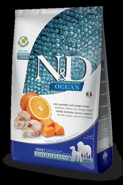 N&D Grain Free Kabeljau, Kürbis & Orange Adult Medium & Maxi