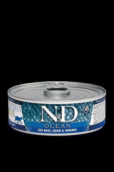 Farmina N&D Ocean Wolfsbarsch, Tintenfisch & Garnelen (Katze) | mdpetfood.at kaufen