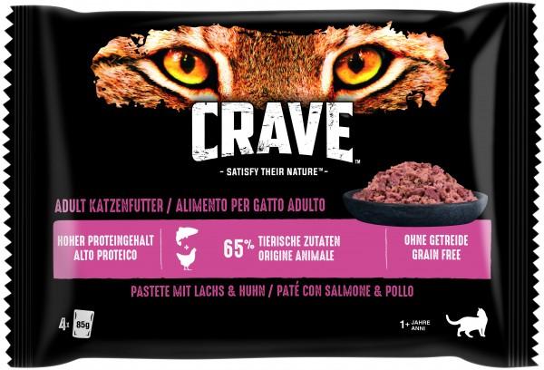 Crave Pastete mit Lachs & Huhn Frischebeutel (Katze)