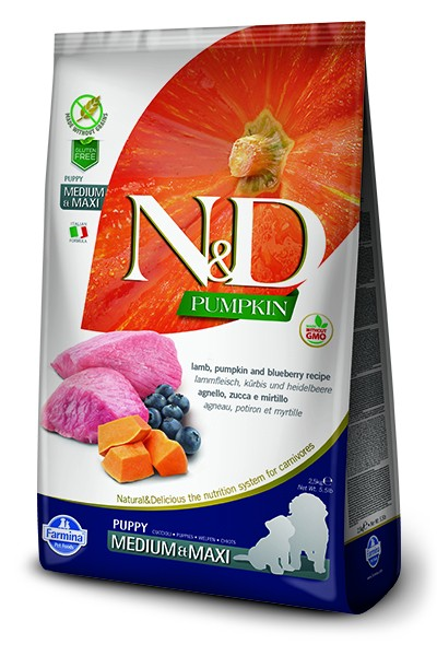 N&D Grain Free Puppy Medium/Maxi Pumpkin Lamb & Blueberry (Hund)