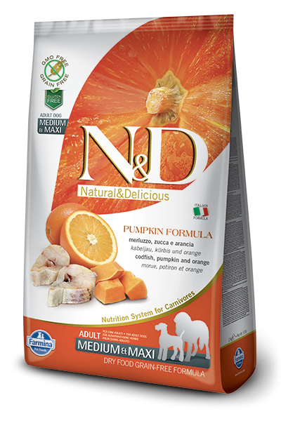 N&D Grain Free Adult Medium/Maxi Pumpkin Codfish & Orange (Hund)