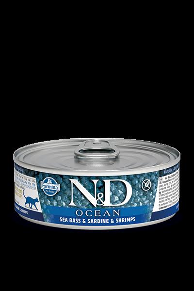 N&D Ocean Wolfsbarsch, Sardine & Garnelen (Katze)