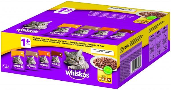 Whiskas 1+ Geflügel Auswahl in Gelee Frischebeutel 80x100g günstig kaufen