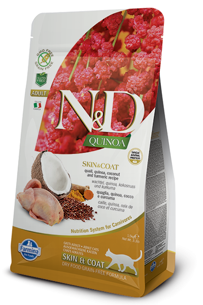 N&D Grain Free Adult Quinoa Skin & Coat Quail (Katze)
