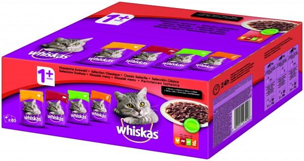 Whiskas 1+ Klassische Auswahl in Sauce Frischebeutel 80x100g (Katze)