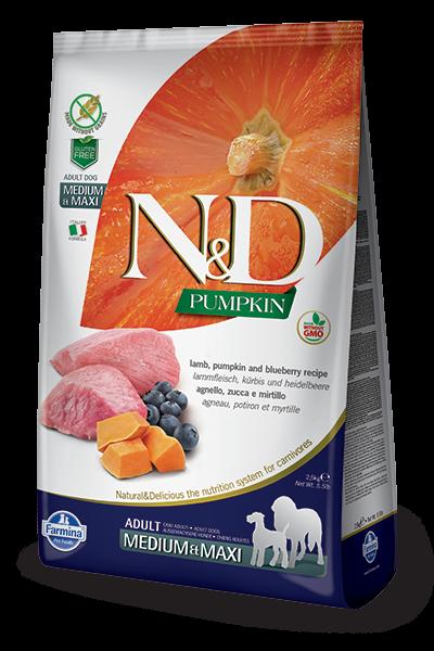 N&D Grain Free Adult Medium/Maxi Pumpkin Lamb & Blueberry (Hund)