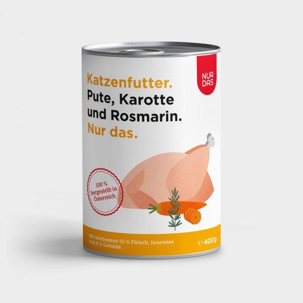Nur das Pute mit Karotte und Rosmarin Katzenfeuchtfutter 400g Dose